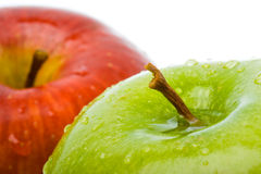 Two wet apples closeup Stock Photography