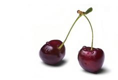 Two wet cherries Stock Image