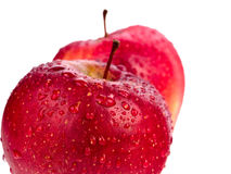 Two wet red apples isolated on white background Stock Image