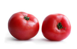 Two wet tomatoes Stock Images