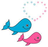 Two whales that love. Illustration Stock Photo