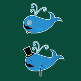 Two Whales with Moustaches Stickers Royalty Free Stock Photos
