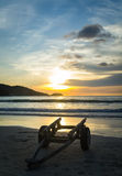Two-wheeled cart on the beach Stock Photography