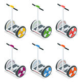 Two-wheeled Self-balancing electric scooter vector isometric illustrations. Intelligent and fashionable personal Stock Image
