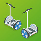 Two-wheeled Self-balancing electric scooter vector isometric illustrations. Intelligent and fashionable personal Stock Photo