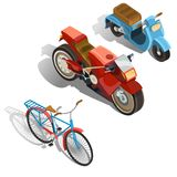 Two-wheeled transport isometric vector set. Set of old-fashioned and modern two-wheeled transport isometric projection vector illustration isolated on white Royalty Free Stock Photo