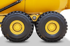 Two wheels of mining truck Stock Photos