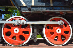 Two wheelsets of the locomotive with brake and drive mechanism Stock Photography