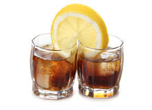 Two whiskey and lemon Royalty Free Stock Photos