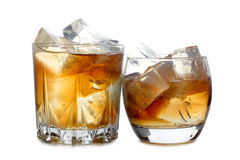 Two whiskey whit ice Stock Images