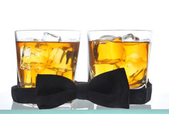 Two Whiskeys and Bow Tie Royalty Free Stock Photography