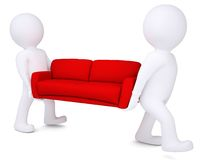 Two white 3d man bear red sofa Stock Photos