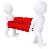 Two white 3d man bear red sofa Royalty Free Stock Image