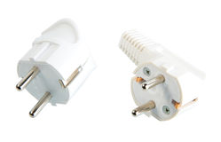 Two white ac-power connectors Stock Photography