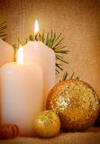 Two white Advent Candles . Royalty Free Stock Photo