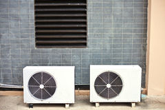 Two White air condition box. In side of building Royalty Free Stock Photos
