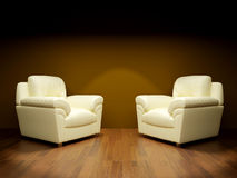 Two white armchairs Royalty Free Stock Images