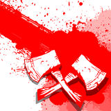 Two white Axe on blood banner Stock Image