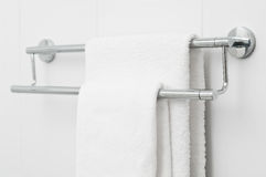 Two white bath towels royalty free stock photography