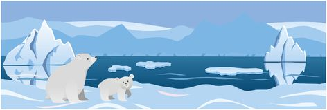 Two white bear in the background Arctic ice. Vector illustration royalty free illustration