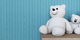 Two White Bear Dolls And Wall. / Toy And Display royalty free stock photos