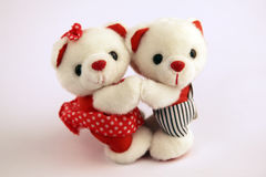 Two white bears. Holding hands and dancing Royalty Free Stock Photo