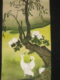 Two white birds and tree. This is a photocopy of my own painting, watercoloured painting, in traditions of old Japanese painting. Two white birds and a tree with Stock Photography