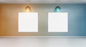 Two white blanks canvas on a wall 3D rendering Stock Image