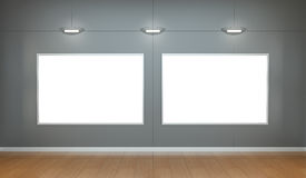 Two white blanks canvas on a wall 3D rendering Royalty Free Stock Image