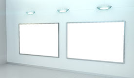 Two white blanks canvas on a wall 3D rendering Royalty Free Stock Photography