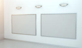 Two white blanks canvas on a wall 3D rendering Stock Photos