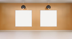 Two white blanks canvas on a wall 3D rendering Stock Images