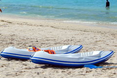 Two white blue kayaks Stock Image