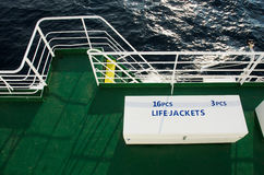 Two white boxes with life jackets on deck of passenger ship Royalty Free Stock Image