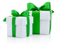 Two White boxs tied green ribbon bow Isolated on white backgroun Stock Image