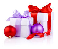 Two White boxs tied ribbon bow, red and Purple Stock Photography
