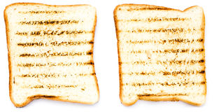 Two white bread toast with tomato. Isolated on white background, closeup stock image