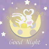 Two white Bunny moon night Stock Image