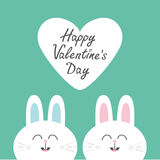 Two white bunny rabbit head couple set. Cute cartoon smiling character. Happy emotion. Baby greeting card. Happy Valentines day. B Stock Photos