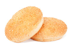 Two white buns with sesame Royalty Free Stock Images