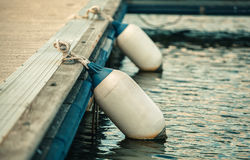 Two white buoy rope tied to a pier Stock Photography