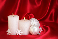 Two white candles Stock Images