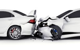 Two white car crash. Two car crash on white background. 3d illustration Royalty Free Stock Image