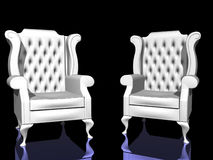 Two White Chairs. On reflective surface royalty free illustration