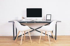 Two white chairs at desk royalty free illustration