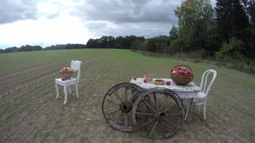 Two white chairs and a table with apples in wicker baskets with two antique wooden wheels , time-lapse 4K stock video
