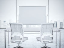 Two white chairs and whiteboard in office interior. 3d rendering. Two white chairs and whiteboard in modern office interior. 3d rendering Royalty Free Stock Photo