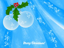 Two white Christmas balls with wreath leaves Stock Image