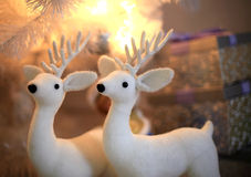 Two white Christmas deer Stock Photo