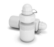 Two white collapsible sport water bottle close-up Royalty Free Stock Images